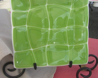 Retro Fused Glass Plate in Green and White