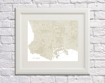 Los Angeles Street Map Print Map of LA City Street Map California Poster City Art Poster