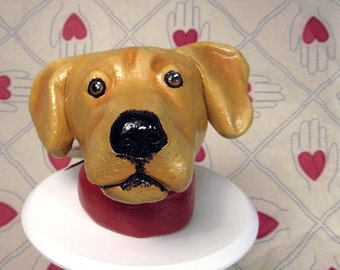 Yellow Lab Ceramic Dog Sculpture