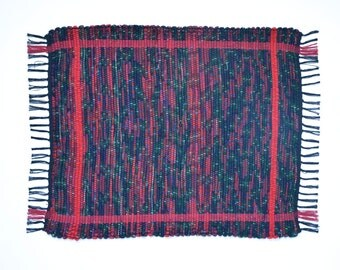 Hand-Woven Wool Rag Rug | Black/Red/Green/Navy Tartan