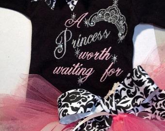 Princess Worth Waiting For Onesie Tutu FREE Hair Bow
