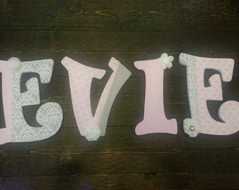 Pink and Grey Custom Personalized Wooden Letters Name-Nursey, Wall Hanging, any Color Theme