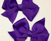 "set of 2 pigtail 3.5"" Purple Halloween grosgrain ribbon bling hair bow birthday party over the top ott pinwheel baby teen clip piggies pair"