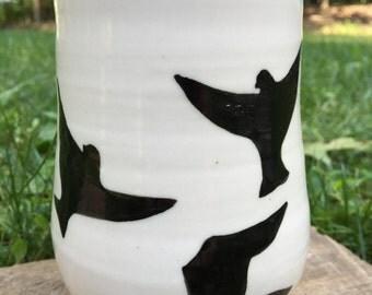 Birds in Flight Porcelain Mug Handpainted
