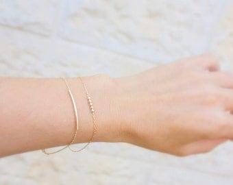 Delicate Gold Bracelet / Dainty Chain Bracelet / Thin Gold Chain / Layering Bracelet / Set of 2 gold bracelets