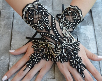 black wedding glove, silver frame, halloween gloves, black lace cuffs, lace gloves, Fingerless Gloves, bridal gloves  Free Ship, halloween