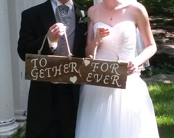 Rustic Barnwood Wedding Photo Prop Sign Together Forever