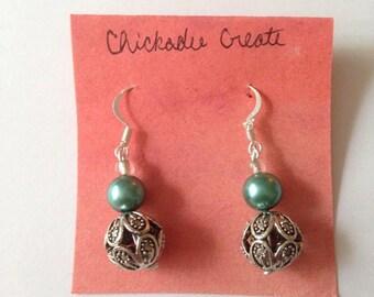 Orb Earrings Silver/Teal