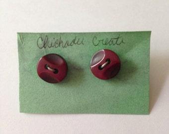 Cute as a Button Earrings in Plum