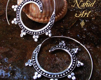 German silver hoops earrings
