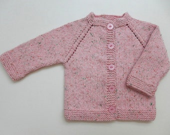 Hand Knit Baby Girl Sweater/ 3 - 6 months/ Soft Pink Baby Sweater/ Hand Knit Cardigan / Baby Gift / Baby Clothing