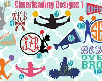 Monogram cheerleadering vinyl decals - monogram decals - monogrammed decals - vinyl sticker - car decal - cheerleader - cheers - cheer mom
