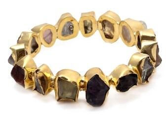 Raw Natural Gemstones Bangle Bracelet/Stackable Bangle/Statement Bracelet/Multi Color Bangle - GB 2