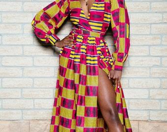 African print wrap dress