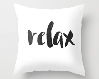 Relax Pillow, Relax Pillow Cover, Word Pillows, Throw Pillows With Words, Pillows With Quote, Modern Home Decor, Typography Art, Yoga Pillow