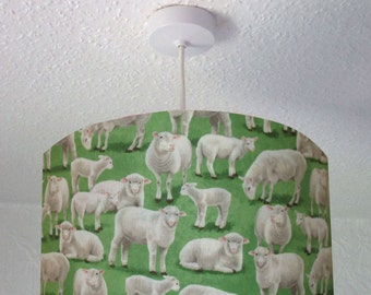 Drum Lampshade with Sheep and Lambs