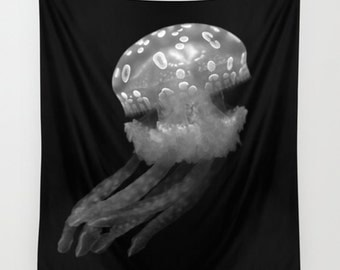 Jellyfish tapestry,black and white, wall tapestry, wall hanging, black and white décor, large wall art, oversized art, fabric art, sea life
