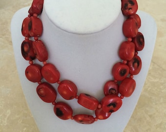 Red bamboo coral necklace