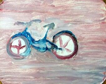 "Lost Bicikle, 4.5"" x 5.5"", Original Fine Art Oil Paintings"