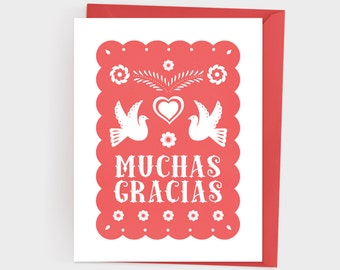 Printable Papel Picado Spanish Thank You Card - Muchas Gracias Card
