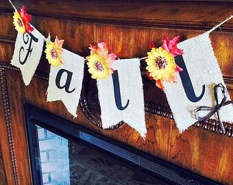 Burlap Fall Banner ~Burlap Fall Bunting ~ Fall  Decor ~ Autumn Home Decor ~ Fall Decorating Ideas ~ Autumn Decor ~ Autumn Decorations ~ Fall