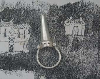 Castle ring, medieval castle ring, sterling silver tower ring, medieval love ring, statement ring, Tudor jewellery, Tudor ring, love ring,