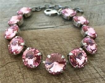 Pretty in Pink - Swarovski Crystal 12mm Rivoli Bracelet Light Pink Rose