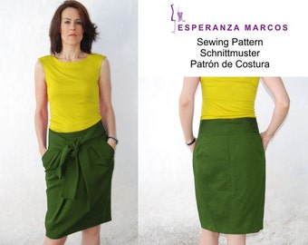 S18-28.Pencil Skirt pleated. PDF sewing pattern