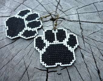 Cross stitch earrings - paw