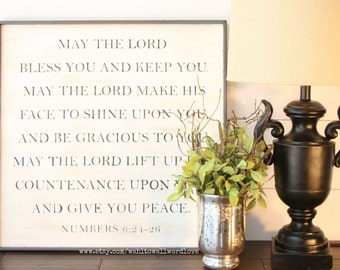 """May the Lord bless you and keep you, Benediction, Numbers 6: 24-26, 24"""" wood scripture sign, Bible verse wall decor, farmhouse style sign"""