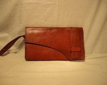 Vintage 1980's Brown Leather Handbag - Clutch Bag