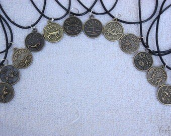 Zodiac Pendant Necklaces - Wax Cord or Silver Chain available