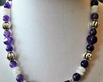 Affordable Amethyst and Moonstone Necklace