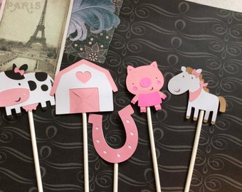 12 Detailed Girl Farm Animal Cupcake toppers