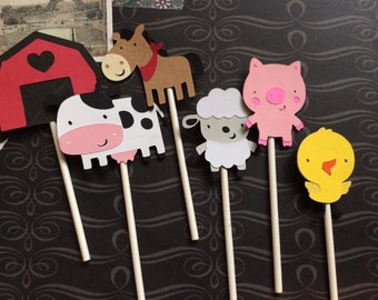 12 Detailed Farm Animal Cupcake toppers