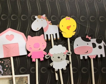 12 Girlie Girl Detailed Farm Animal Cupcake toppers
