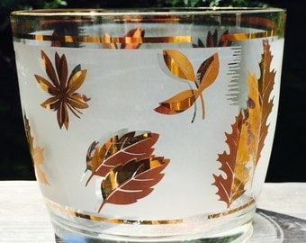 Mid Century/ Vintage Libbey Glass Ice Bucket with Gold Leaves Details  / Retro Ice Bucket/Vintage Serving Bowl/ Atomic Glassware