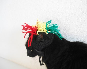 Knit Cat Hat Costume - Cat Rasta Hat - Cat Halloween Costume - Pet Halloween Costume - Cat Photo Prop - Christmas Gift for a Cat Lover