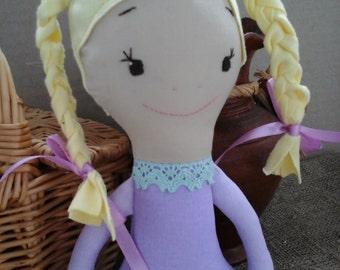 Handmade Fabric Doll, gift, kids - Violetta.