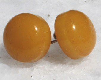 Small Dome Button Style Butterscotch Earrings