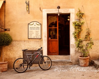 Italy photo, Tuscany decor, bicycle, restaurant, home decor, large wall art, village snack shop, Castillini, village scene, Toscani e Panini