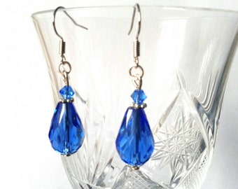 Blue Teardrop Earrings with hook