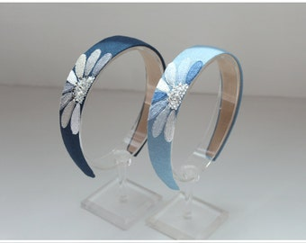 "Embroidered headband ""Ice flower"" alice band"