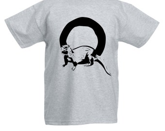 Kids O is for Otter T-Shirt / Childrens Animal A-Z Alphabet T Shirt in Black, Grey, Pink, Yellow, Blue / Age: 3-4, 5-6, 7-8, 9-11, 12-13