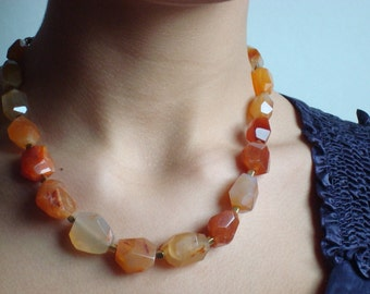 Carnelian Necklace - Chunky Nuggets with Decorative Brass Clasp and Brass Spacers