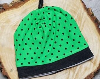 Infant Hat, Baby Girl Hat, Baby Boy Hat, Polka Dot Hat, Green Childrens Hat, Newborn Hat, Baby Beanie, Childs Hat, Kids Hat, Baby Hat