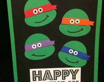 Ninja Birthday Card, Turtle Birthday card, Ninja/Turtle Card