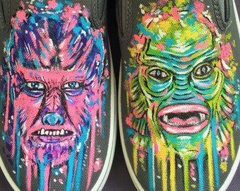 The Exquisite Corpse Hand Painted Customizable Horror Themed Slip On Shoes For Men, Women, and Kids