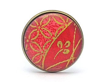 Asian jewelry - Red ring - Glass cabochon - Adjustable ring - Only one copy made - Made in France