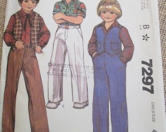Vintage 1980's McCall's Sewing Pattern 7297 Children's Vest, Shirt and Pants